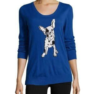 Neiman Marcus NWT French Bulldog Blue Sweater S